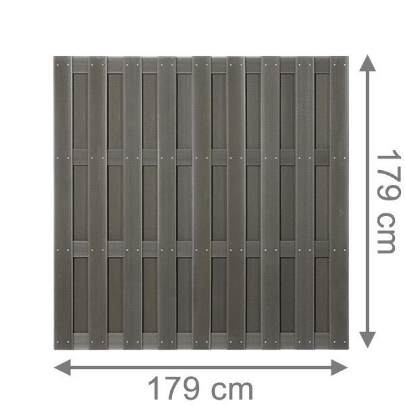 TraumGarten Sichtschutzzaun Jumbo WPC Rechteck anthrazit - 179 x 179 cm