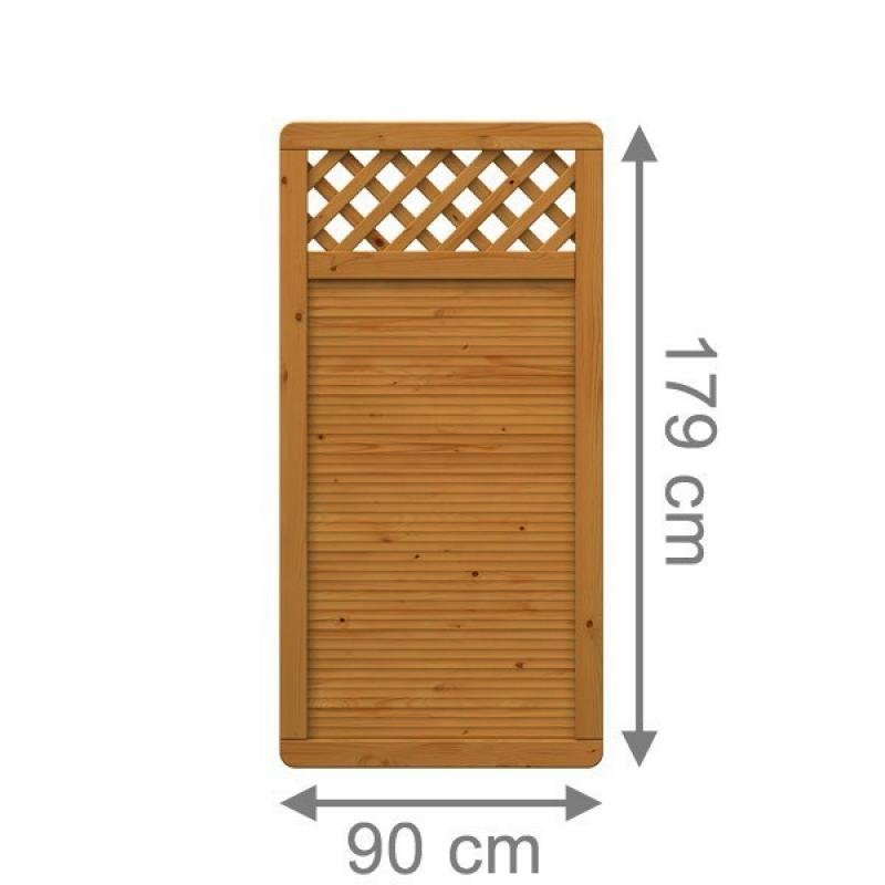 TraumGarten Sichtschutzzaun ARZAGO Rechteck mit Gitter braun lasiert - 90 x 179 cm
