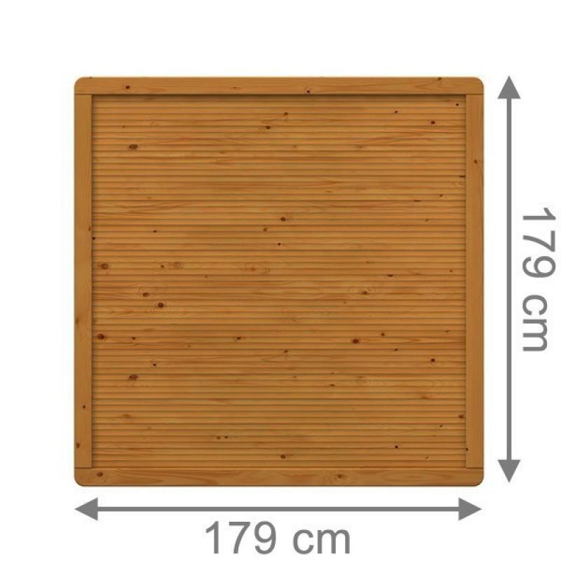 TraumGarten Sichtschutzzaun Arzago Rechteck braun lasiert - 179 x 179 cm