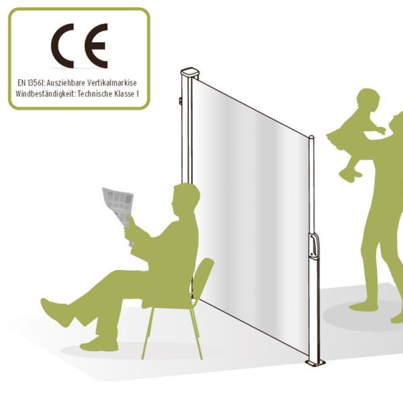 TraumGarten Seitenmarkise zum Ausziehen anthrazit - 180 x 350 cm