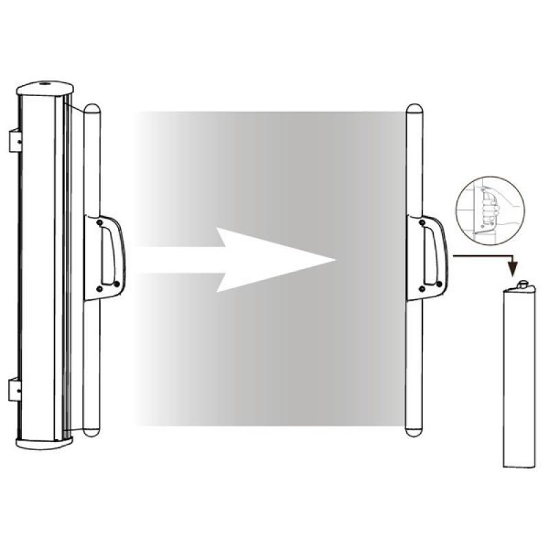 TraumGarten Seitenmarkise zum Ausziehen terracotta - 180 x 350 cm