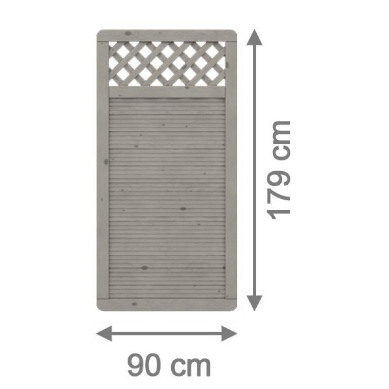 TraumGarten Sichtschutzzaun ARZAGO Rechteck mit Gitter grau lasiert - 90 x 179 cm