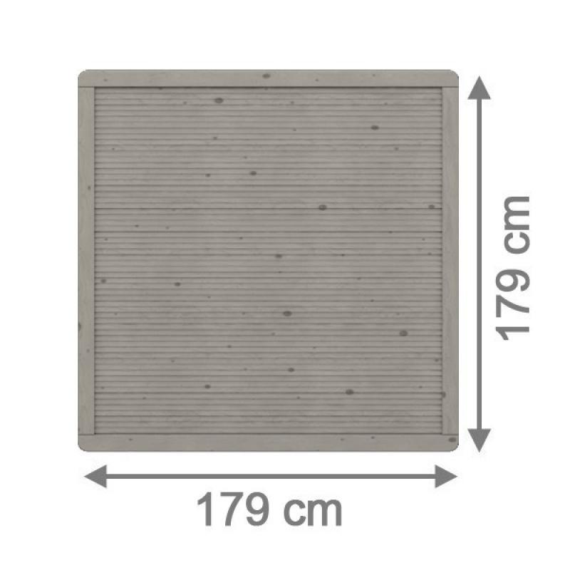 TraumGarten Sichtschutzzaun Arzago Rechteck grau lasiert - 179 x 179 cm