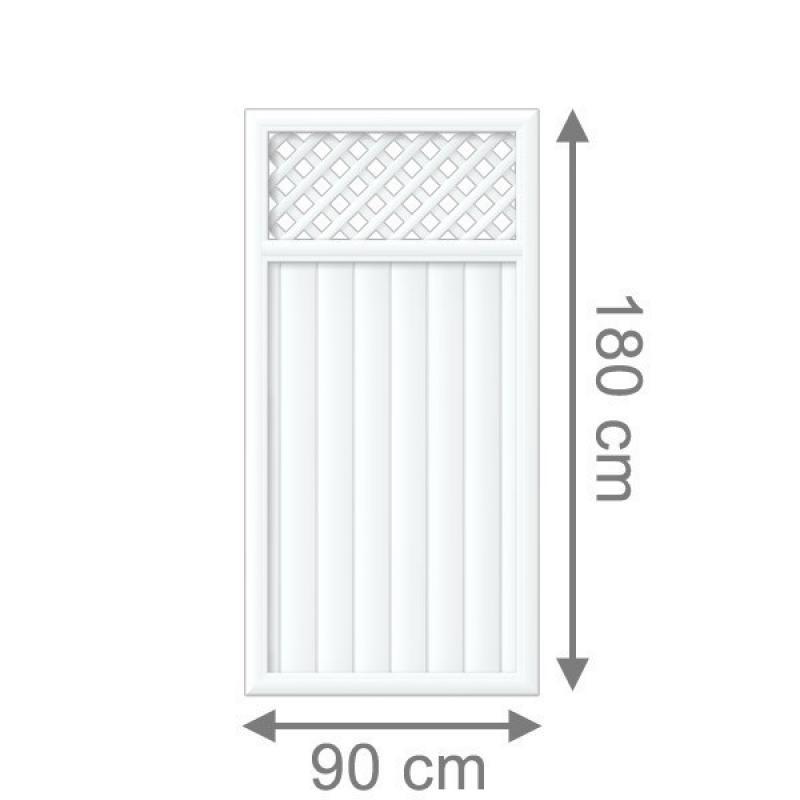 TraumGarten Sichtschutzzaun Longlife Riva Rechteck mit Gitter weiß - 90 x 180 cm