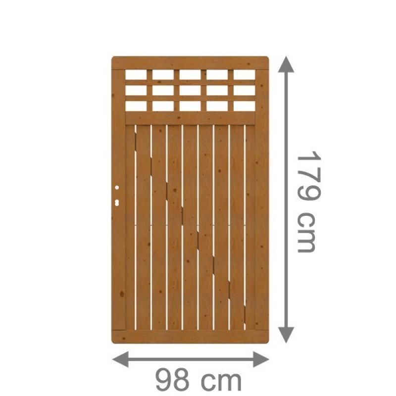 Sichtschutzzaun Holz Lasiert ~   Sichtschutzzaun COMO Tor mit Gitter 179 x 98 cm  braun lasiert