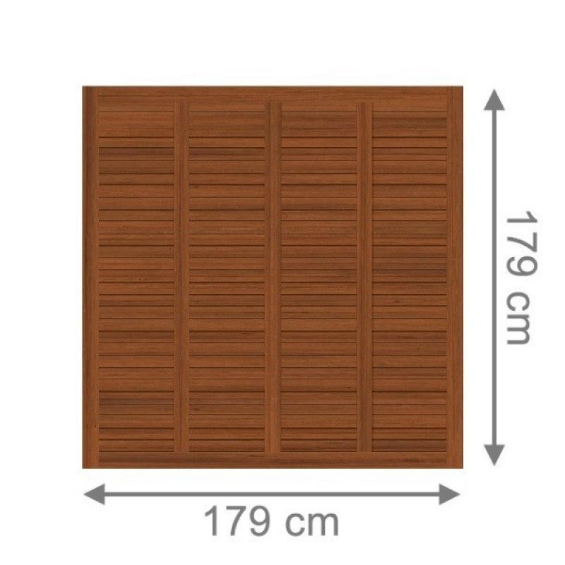 TraumGarten Sichtschutzzaun Grazia Rechteck braun lasiert - 179 x 179 cm