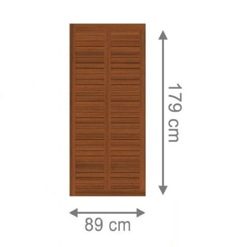 TraumGarten Sichtschutzzaun Grazia Rechteck braun lasiert - 89 x 179 cm