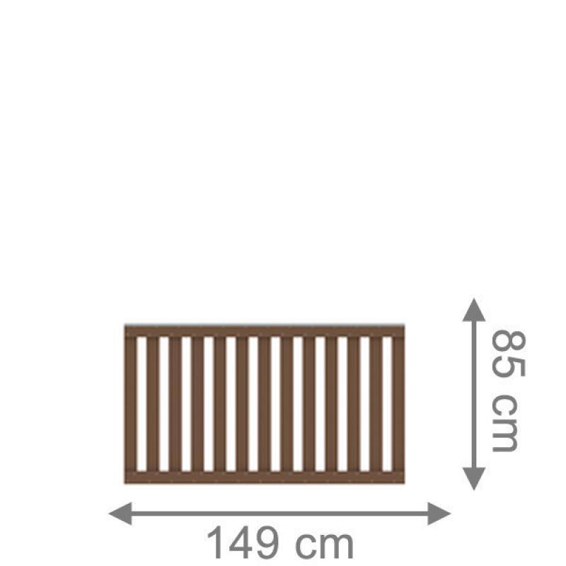 TraumGarten Vorgartenzaun Raja WPC Set inkl. Alu-Aufsatz braun - 149 x 85 cm