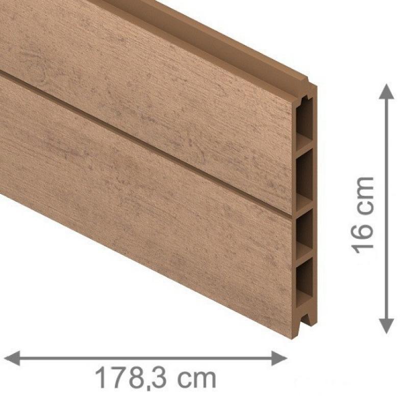 TraumGarten Einzelprofil System WPC mandel - 15 x 2,1 x 178 cm