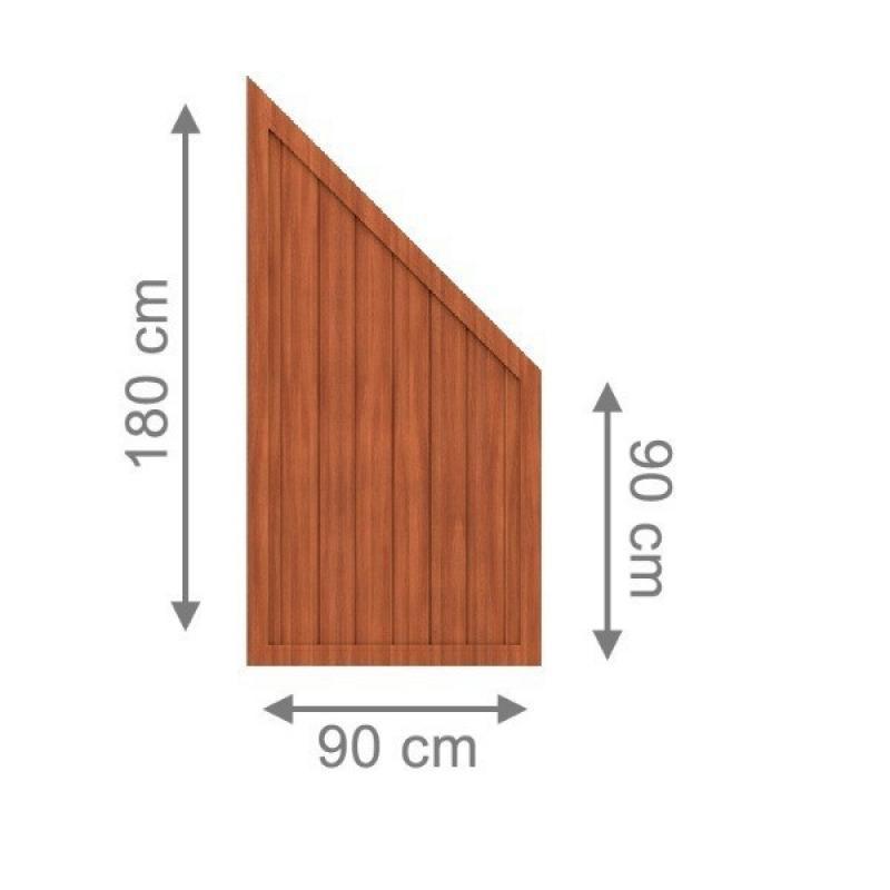 TraumGarten Sichtschutzzaun Longlife Riva Anschluss braun - 90 x 180 auf 90 cm