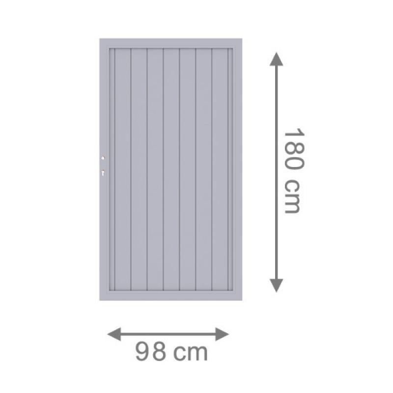 TraumGarten Sichtschutzzaun Longlife Riva Tor grau inkl. Schloss - 98 x 180 cm