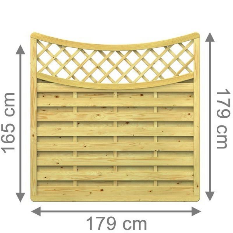 TraumGarten Sichtschutzzaun XL Rundbogen unten mit Gitter kdi - 179 x 179 (165) cm