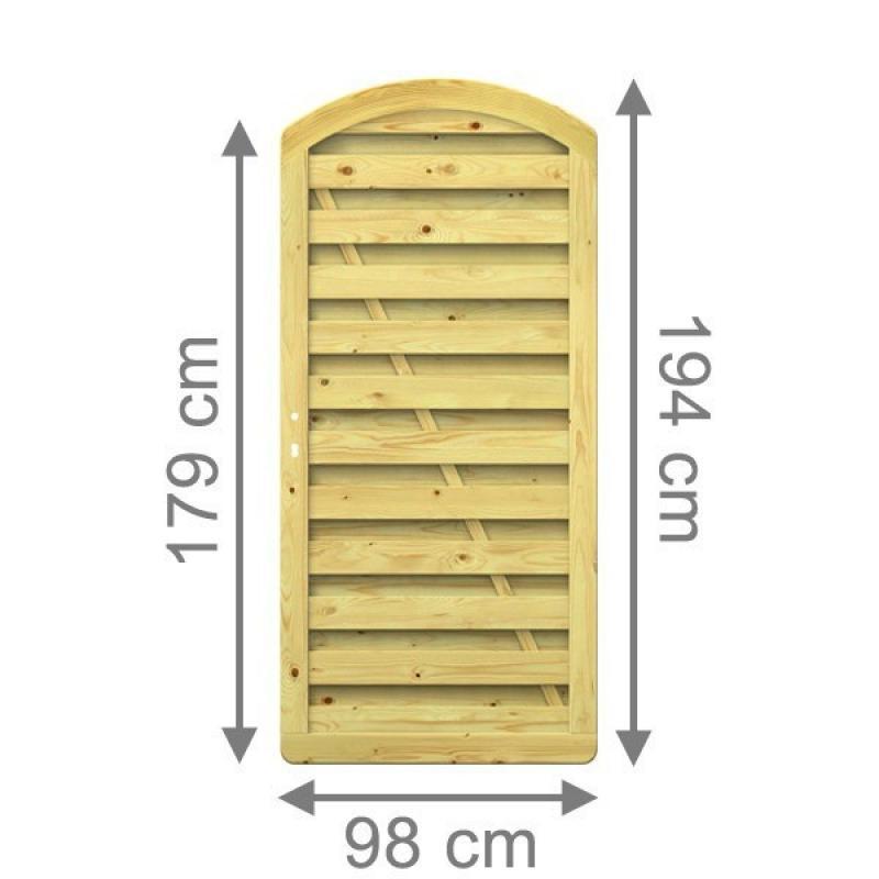 TraumGarten Sichtschutzzaun XL Tor rund kdi - 98 x 179 (194) cm