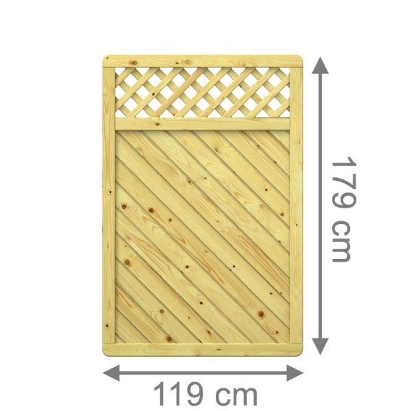 TraumGarten Sichtschutzzaun Gada Rechteck mit Gitter kdi - 119 x 179 cm