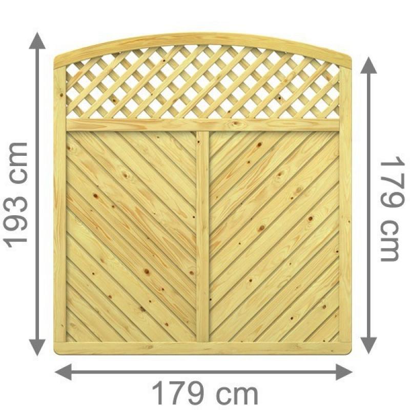 TraumGarten Sichtschutzzaun GADA Rundbogen mit Gitter kdi - 179 x 179 (193) cm