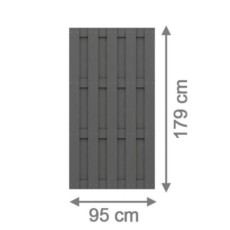 TraumGarten Sichtschutzzaun Jumbo WPC Rechteck anthrazit - 95 x 179 cm