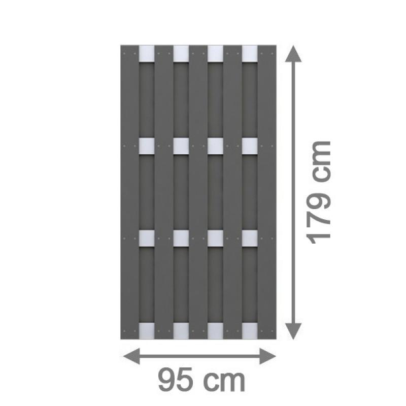 TraumGarten Sichtschutzzaun Jumbo WPC Alu-Design Rechteck anthrazit - 95 x 179 cm