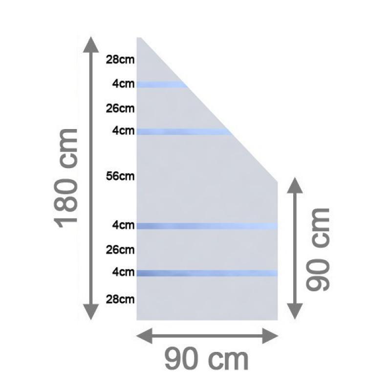TraumGarten Sichtschutzzaun System Glas Alpha Anschluß rechts - 90 x 180/90 x 0,8 cm