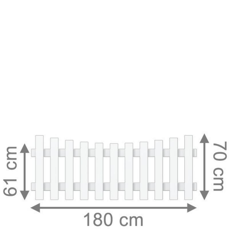 TraumGarten Vorgartenzaun Longlife CARA Rundbogen unten weiß - 180 x 70 (61) cm