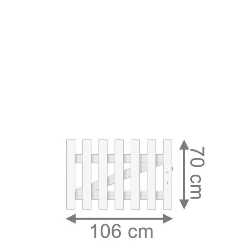 TraumGarten Vorgartenzaun Longlife Cara Tor gerade DIN RE weiß - 106 x 70 cm