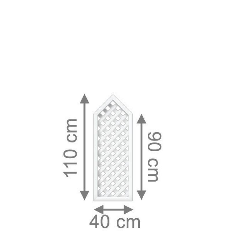 TraumGarten Rankgitter Longlife Rechteck mit Spitze weiß - 40 x 90 (110) cm