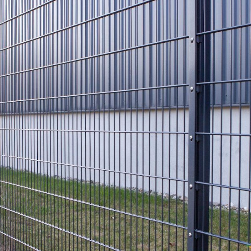 Doppelstabgitterzaun Metallzaun 8/6/8 MAX RAL 7016 - Höhe: 2430 mm