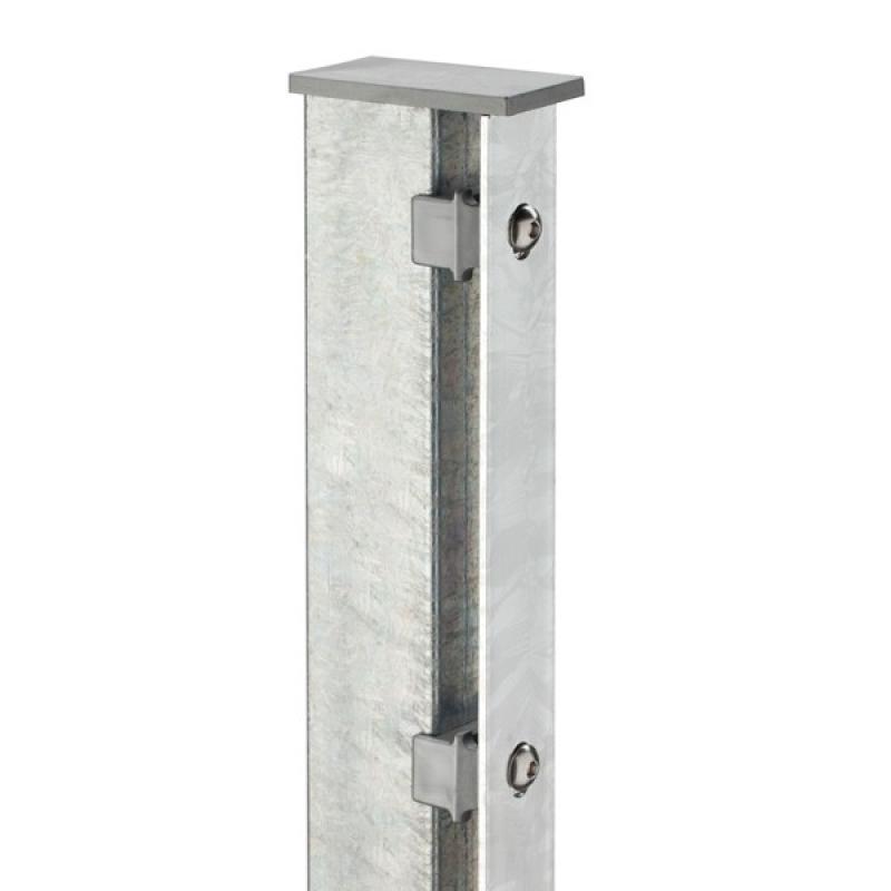 Doppelstabgitterzaun Zaunpfosten Typ A 60x40x2 Feuerverzinkt - Länge: 3000 mm