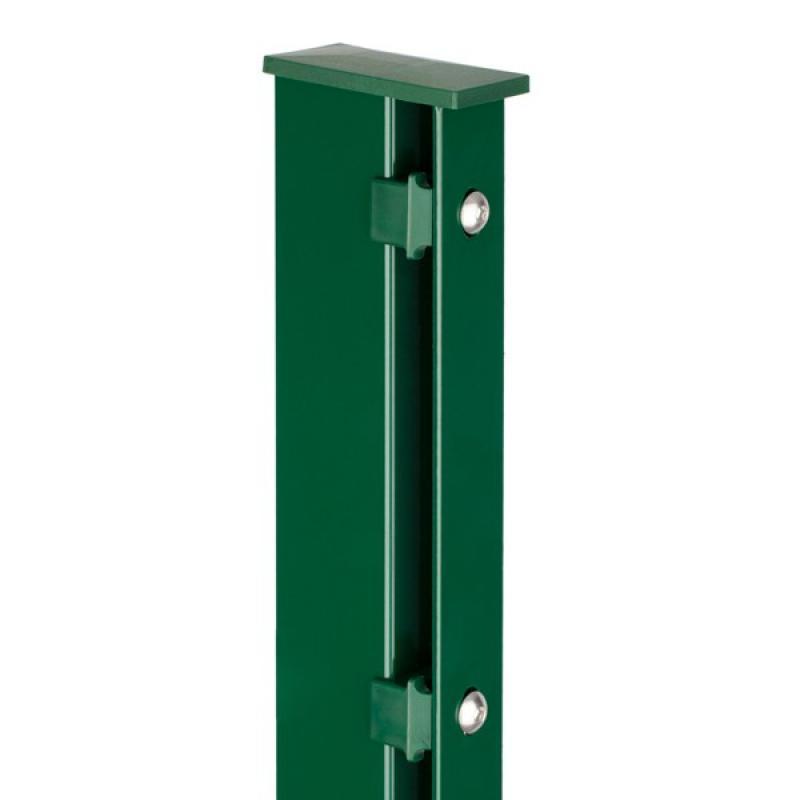 Doppelstabgitterzaun Zaunpfosten Typ A 60x40x2 RAL 6005 - Länge: 3000 mm