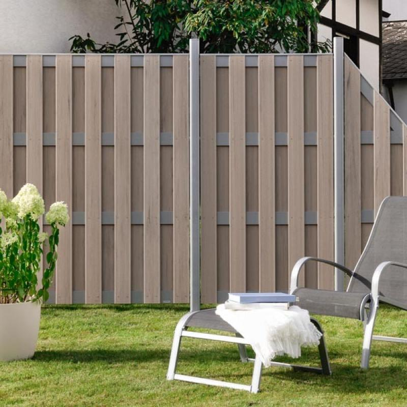 br gmann sichtschutzzaun jumbo wpc alu design sand 179 x 179 cm. Black Bedroom Furniture Sets. Home Design Ideas