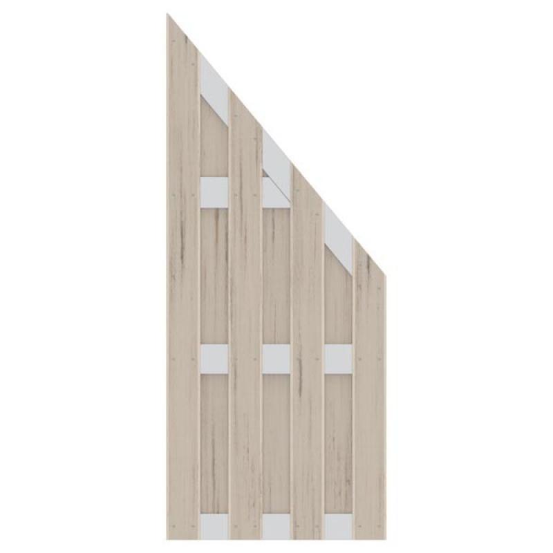 TraumGarten Sichtschutzzaun Jumbo WPC Alu-Design Anschluss sand - 74 x 179 auf 90 cm