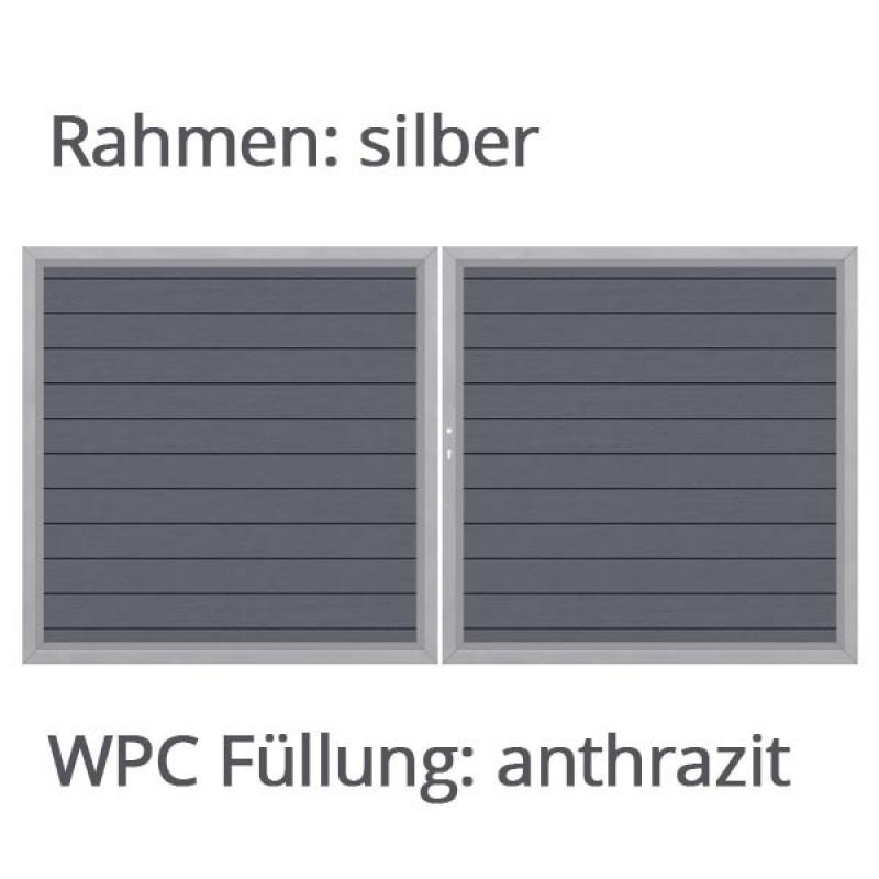 TraumGarten Maßanfertigung System WPC Tor Farbe wählbar - Breite wählbar Höhe 180 cm