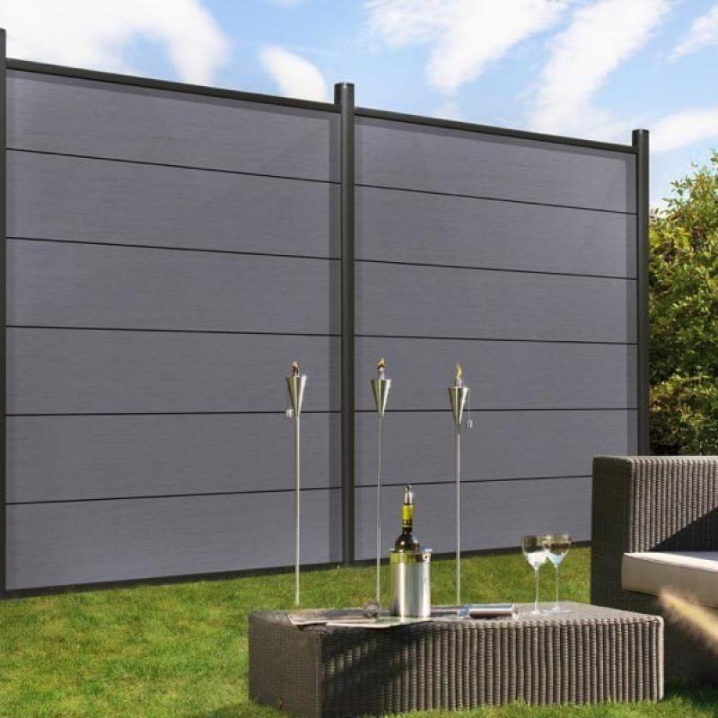 br gmann sichtschutzzaun system wpc xl set grau silber 178 x 183 cm. Black Bedroom Furniture Sets. Home Design Ideas