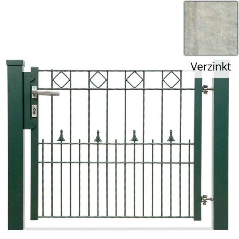 Doppelstabgitterzaun Gartentor  VARIO Paris L/L - Zink (B: 3150 mm x H: 800 mm)