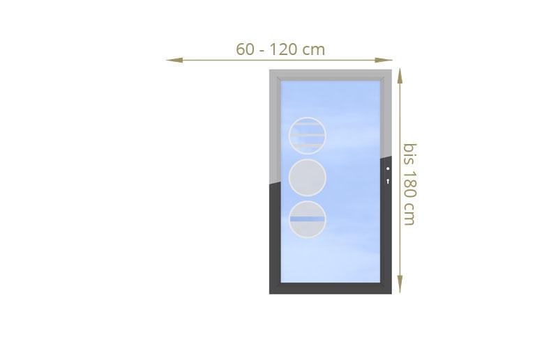 TraumGarten Einzeltor Maßanfertigung System Glas Design wählbar - Breite wählbar Höhe 180 cm