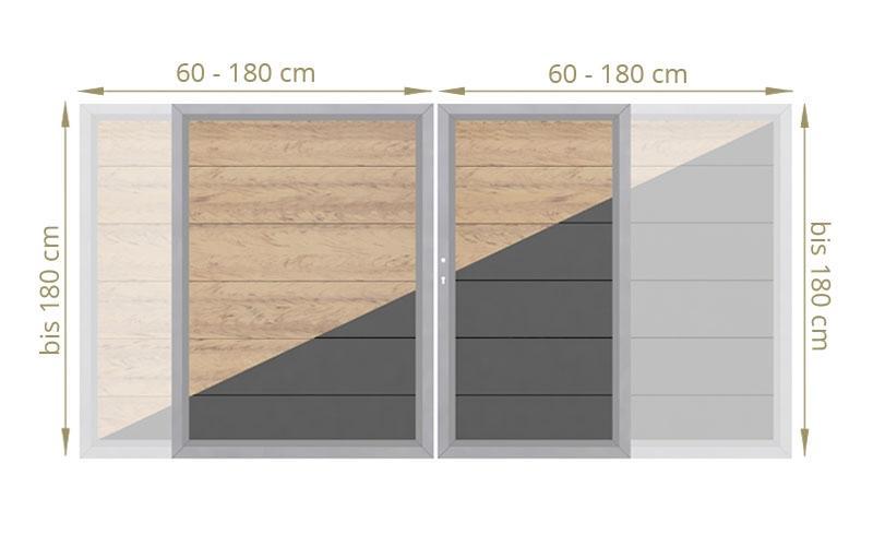TraumGarten Doppeltor Maßanfertigung Design WPC Alu Farbe wählbar - Breite wählbar cm Höhe wählbar cm