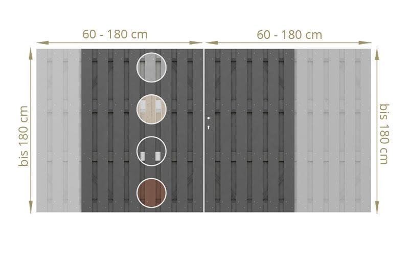 TraumGarten Doppeltor Maßanfertigung Jumbo WPC Farbe wählbar - Breite wählbar cm Höhe wählbar cm