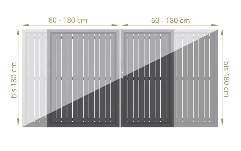TraumGarten Doppeltor Squadra Maßanfertigung Farbe wählbar - Breite bis 180 cm Höhe bis 200 cm
