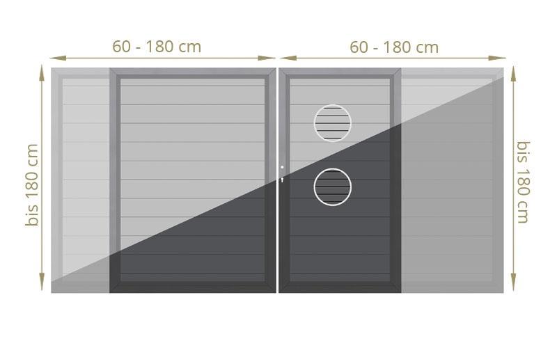 TraumGarten Doppeltor Maßanfertigung System Metall Farbe wählbar - Breite wählbar cm Höhe wählbar cm