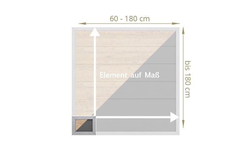 TraumGarten Sichtschutzzaun Maßanfertigung Design WPC Alu sand -  Höhe wählbar cm und Breite wählbar cm