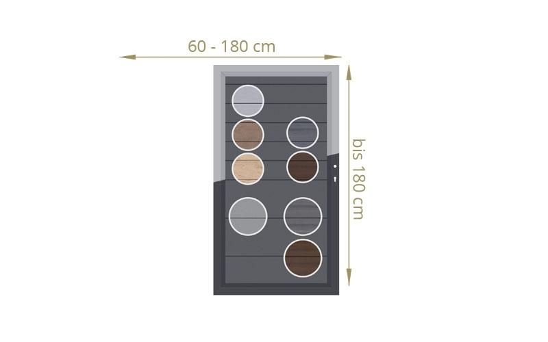 TraumGarten Einzeltor Maßanfertigung System WPC Farbe wählbar - Breite wählbar cm Höhe wählbar cm