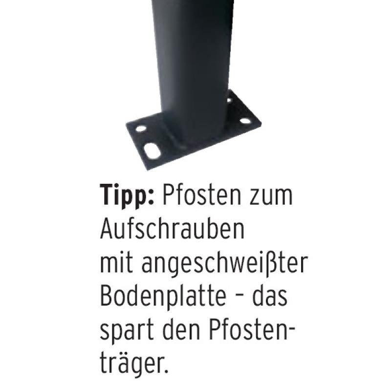 TraumGarten Zaunpfosten Universal Set anthrazit zum Aufschrauben - 7 x 7 x 195 cm