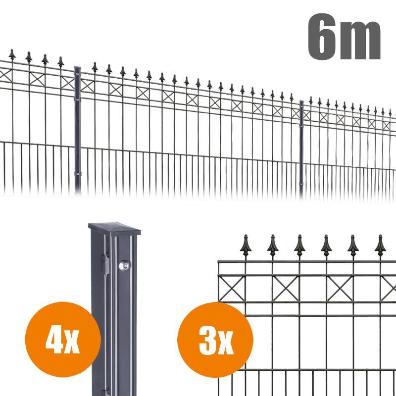 AOS Schmuckzaun Komplett-Zaun Residenzen klassik MODENA Länge 6m x Höhe 1,1 m anthrazit