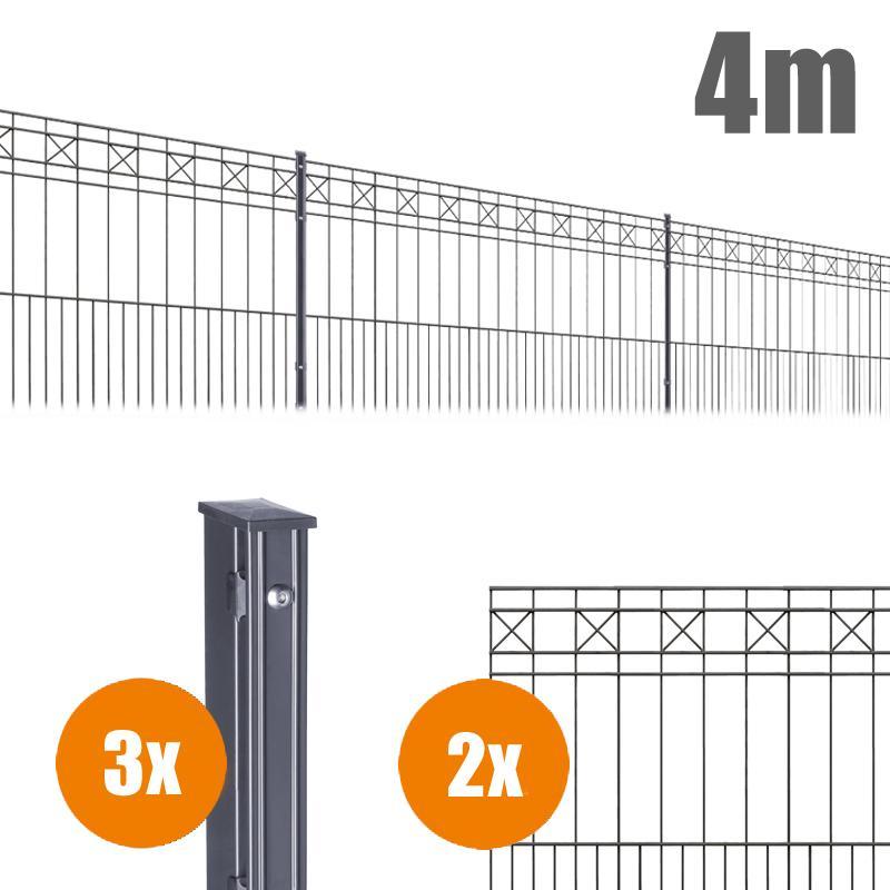 AOS Schmuckzaun Komplett-Zaun Residenzen klassik PISA Länge 4m x Höhe 0,8 m anthrazit