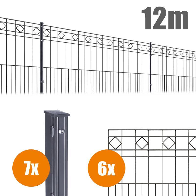 AOS Schmuckzaun Komplett-Zaun Residenzen klassik TURIN Länge 12m x Höhe 0,8 m anthrazit