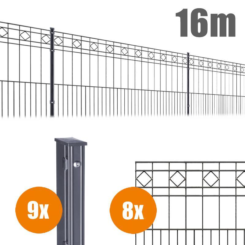 AOS Schmuckzaun Komplett-Zaun Residenzen klassik TURIN Länge 16m x Höhe 0,8 m anthrazit