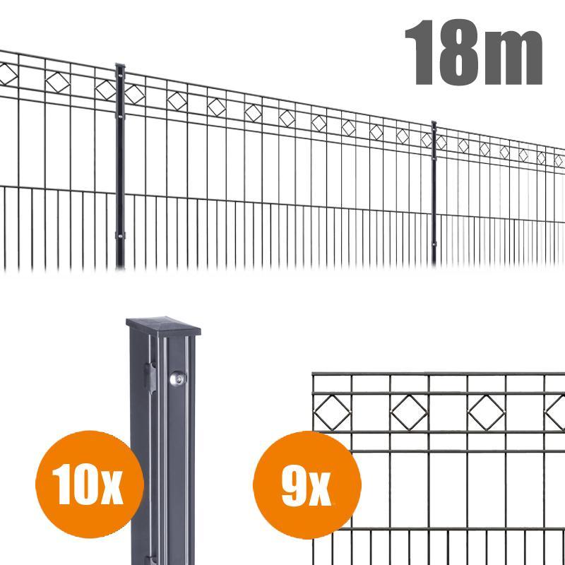 AOS Schmuckzaun Komplett-Zaun Residenzen klassik TURIN Länge 18m x Höhe 1,0 m anthrazit