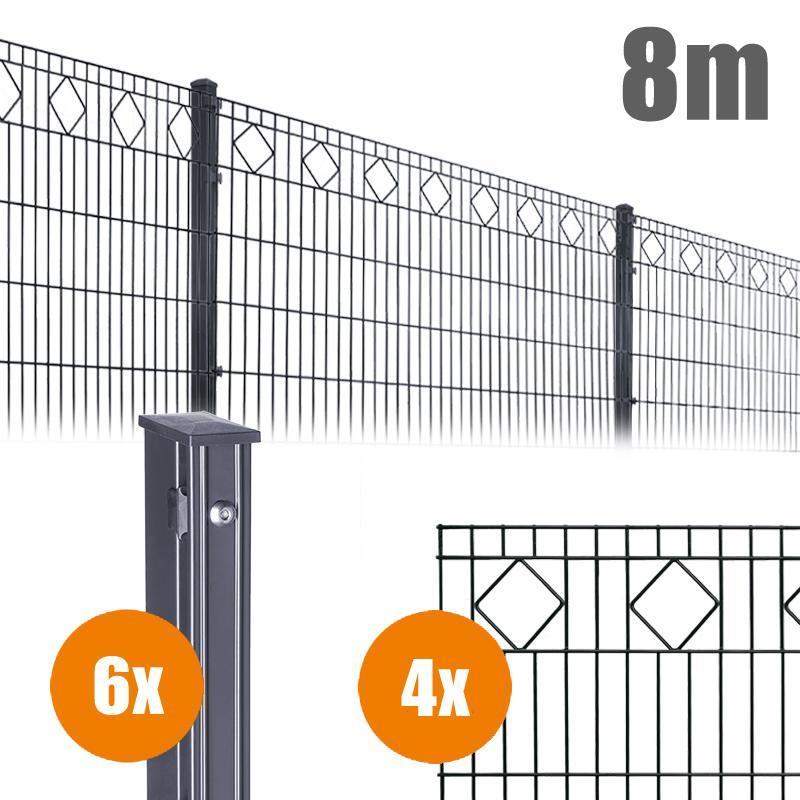 AOS Schmuckzaun Komplett-Zaun VALENCIA Länge 8m x Höhe 1,0 m anthrazit