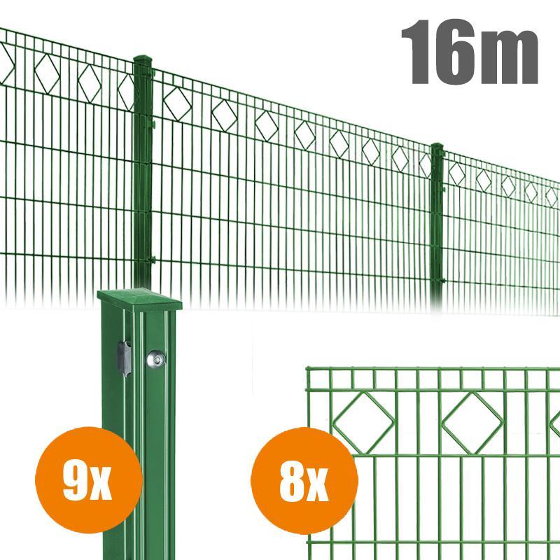 AOS Schmuckzaun Komplett-Zaun VALENCIA Länge 16m x Höhe 0,8 m moosgrün