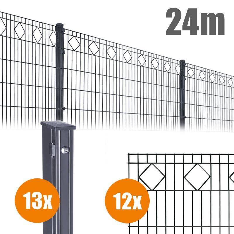AOS Schmuckzaun Komplett-Zaun VALENCIA Länge 24m x Höhe 0,8 m anthrazit