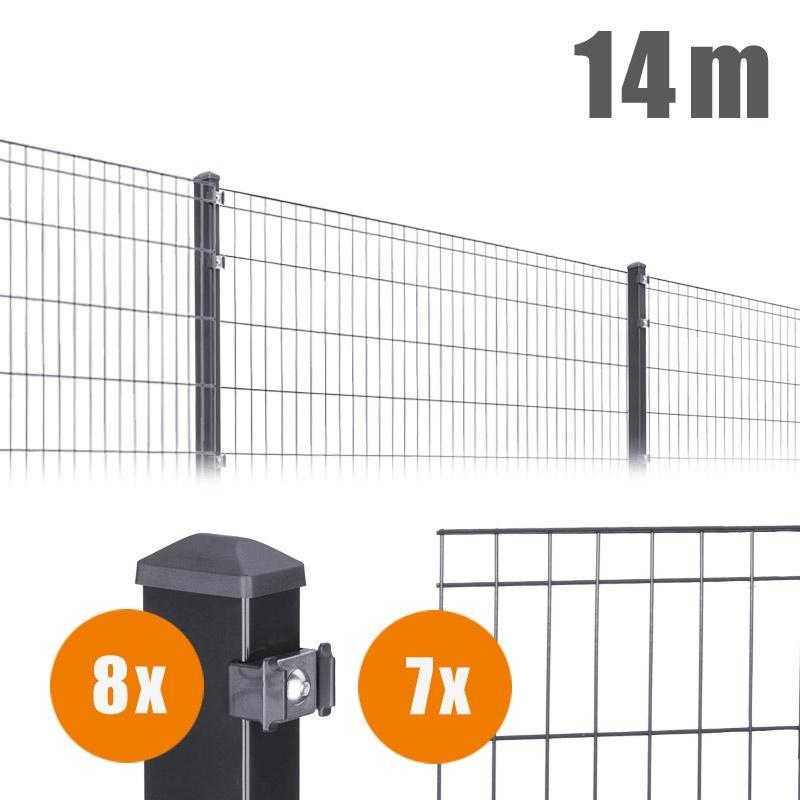 AOS Matte Michl Komplett-Zaun MICHL Länge 14m x Höhe 1,0 m anthrazit